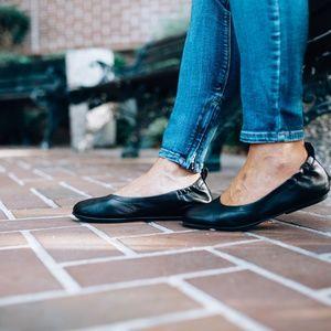 J. CREW Anya Leather Ballet Flats Black